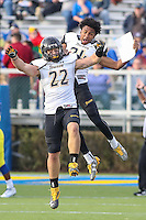 Newark, DE - October 29, 2016: Towson Tigers linebacker Bryton Barr (22) celebrates after recovering a fumble during game between Towson and Delware at  Delaware Stadium in Newark, DE.  (Photo by Elliott Brown/Media Images International)