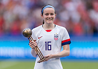 LYON,  - JULY 7: Rose Lavelle #16 poses with her trophy during a game between Netherlands and USWNT at Stade de Lyon on July 7, 2019 in Lyon, France.