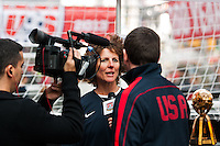 Former women's national team player Michelle Akers is interviewed during the centennial celebration of U. S. Soccer at Times Square in New York, NY, on April 04, 2013.