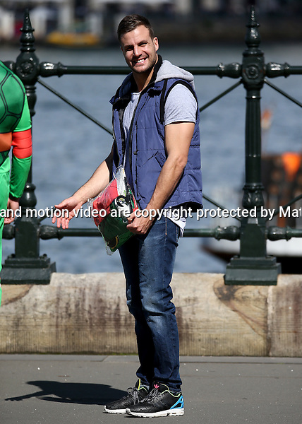 7 SEPTEMBER 2014 SYDNEY AUSTRALIA<br /> <br /> NON EXCLUSIVE PICTURES<br /> <br /> Beau Ryan pictured shooting some scenes with Teenage Mutant Ninja Turtle overlooking the Sydney harbour.<br /> <br />  *No internet without clearance*.<br /> MUST CALL PRIOR TO USE <br /> +61 2 9211-1088. <br /> <br /> Matrix Media Group.Note: All editorial images subject to the following: For editorial use only. Additional clearance required for commercial, wireless, internet or promotional use.Images may not be altered or modified. Matrix Media Group makes no representations or warranties regarding names, trademarks or logos appearing in the images.