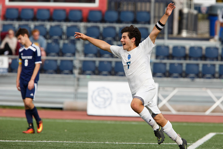 Mishawaka Marian's Christian Juarez (7) celebrates a team goal against Providence during the IHSAA Class A Boys Soccer State Championship Game on Saturday, Oct. 29, 2016, at Carroll Stadium in Indianapolis. Marian won 4-0. Special to the Tribune/JAMES BROSHER