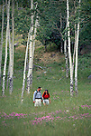 Couple walking through wildflower meadow in Rocky Mtns, CO