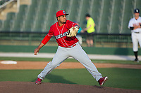 Lakewood BlueClaws relief pitcher Ismael Cabrera (36) in action against the Kannapolis Intimidators at Kannapolis Intimidators Stadium on April 9, 2017 in Kannapolis, North Carolina.  The BlueClaws defeated the Intimidators 7-1.  (Brian Westerholt/Four Seam Images)
