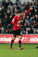 SWANSEA, WALES - FEBRUARY 21: Ander Herrera of Manchester United celebrates his opening goal during the Barclays Premier League match between Swansea City and Manchester United at Liberty Stadium on February 21, 2015 in Swansea, Wales.
