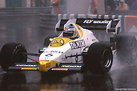 MONTE CARLO - JUNE 3: Keke Rosberg drives his Williams FW09 4/Honda RA163E in a heavy rain during the Monaco Grand Prix on June 3, 1984, at the Circuit de Monaco in Monte Carlo, Monaco.