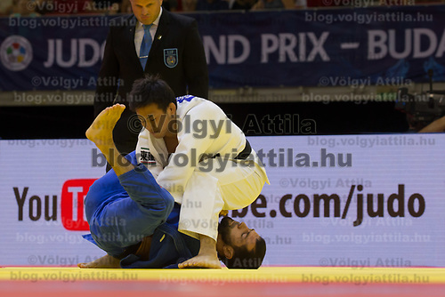 Ryuju Nagayama (top) of Japan and Albert Oguzov (bottom) of Russia fight during the Men -60 kg category at the Judo Grand Prix Budapest 2018 international judo tournament held in Budapest, Hungary on Aug. 10, 2018. ATTILA VOLGYI