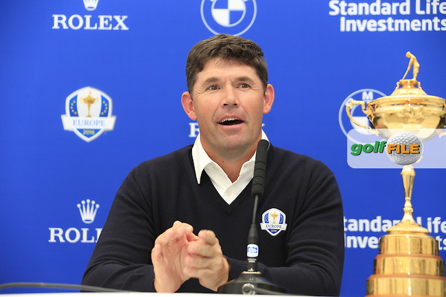 Padraig Harrington speaking at the announcement of the Ryder cup vice captains press conference during  round 2 of the 2016 BMW PGA Championship. Wentworth Golf Club, Virginia Water, Surrey, UK. 27/05/2016.<br /> Picture Fran Caffrey / Golffile.ie<br /> <br /> All photo usage must carry mandatory copyright credit (&copy; Golffile | Fran Caffrey)