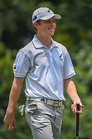 Daniel HILLIER (NZL) smiles at his caddie after sinking his putt on 4 during Rd 2 of the Asia-Pacific Amateur Championship, Sentosa Golf Club, Singapore. 10/5/2018.<br /> Picture: Golffile | Ken Murray<br /> <br /> <br /> All photo usage must carry mandatory copyright credit (© Golffile | Ken Murray)