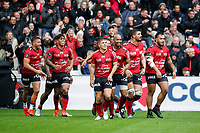 Team of Toulon celebrate during the Top 14 match between Toulon and Toulouse at Felix Mayol Stadium on April 6, 2019 in Toulon, France. (Photo by Wallis/Icon Sport)