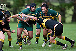 J. Chamberlain tries to stop F. Samuelu. Counties Manukau Premier club rugby game between Bombay & Pukekohe played at Bombay on the 19th of May 2007. Pukekohe led 24 - 0 at halftime & went on to win 30 - 22.