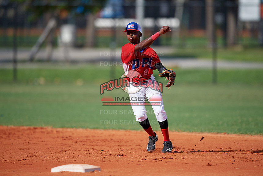 Aneudi Escanio (2) during the Dominican Prospect League Elite Florida Event at Pompano Beach Baseball Park on October 14, 2019 in Pompano beach, Florida.  (Mike Janes/Four Seam Images)