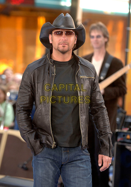 "TIM McGRAW.Performs On NBC's ""Today"" Show Concert Series - Today Show Studio, New York City, NY, USA..March 31st, 2006.Ref: IW.half length black leather jacket hat stetson cowboy sunglases shades concert live gig performance music.www.capitalpictures.com.sales@capitalpictures.com.©Capital Pictures"