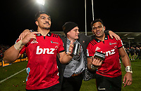 Crusaders Pete Samu, Israel Dagg and Seta Tamanivalu celebrate following the 2018 Super Rugby final between the Crusaders and Lions at AMI Stadium in Christchurch, New Zealand on Sunday, 29 July 2018. Photo: Joe Johnson / lintottphoto.co.nz