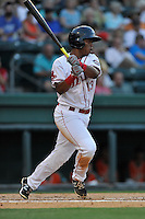 Third baseman Rafael Devers (13) of the Greenville Drive bats in a game against the Greensboro Grasshoppers on Tuesday, August 25, 2015, at Fluor Field at the West End in Greenville, South Carolina. Devers is the No. 6 prospect of the Boston Red Sox, according to Baseball America. Greensboro won, 3-2. (Tom Priddy/Four Seam Images)