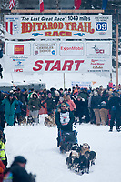 Sonny Lindner team leaves the start line during the restart day of Iditarod 2009 in Willow, Alaska