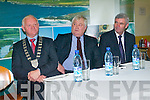 Mayor of Kerry, Tim Buckley,  Chairperson of Kerry Airport Denis Cregan and Chairman of Aer Arann Padraig O'Ceidigh at the press conference to mark the launch of the Aer Arann Kerry Dublin flights.