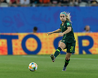 GRENOBLE, FRANCE - JUNE 18: Ellie Carpenter #21 of the Australian National Team passes the ball during a game between Jamaica and Australia at Stade des Alpes on June 18, 2019 in Grenoble, France.