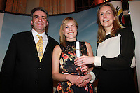 Repro Free.from left to right: Eoghan Corry from Travel Extra, Deirdre Mullins  Winner of the Home Market, Journalist of the Year Sponsored by Failte Ireland and Helen Brady Failte Ireland.Travel Extra,Travel Journalist of the Year Awards at the Thomas Prior House Ballsbridge. The event which was sponsored by The Spanish Tourist board gave out 12 awards for different catagories. .This year saw a huge increase in the number of submissions from previous years, displaying the creativity and continuning innovation of travel and tourism journalism in Ireland..Collins Photos 25/1/13