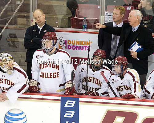 Brian Billett (BC - 1), John Hegarty (BC - Director, Hockey Operations), Patch Alber (BC - 3), Patrick Wey (BC - 6), Greg Brown (BC - Associate Head Coach), Teddy Doherty (BC - 4), Jerry York (BC - Head Coach) - The Boston College Eagles defeated the visiting University of Massachusetts Lowell River Hawks 6-3 on Sunday, October 28, 2012, at Kelley Rink in Conte Forum in Chestnut Hill, Massachusetts.