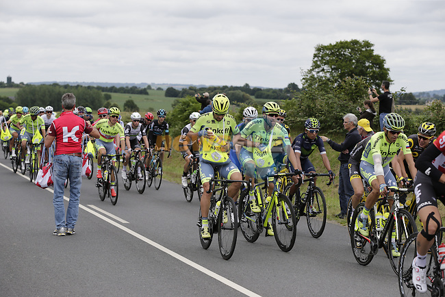 Riders pass through the feed zone at La Hargriniere during Stage 3 of the 2016 Tour de France, running 223.5km from Granville to Angers, France . 4th July 2016.<br /> Picture: Eoin Clarke | Newsfile<br /> <br /> <br /> All photos usage must carry mandatory copyright credit (&copy; Newsfile | Eoin Clarke)