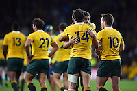 Adam Ashley-Cooper of Australia is congratulated on his try by team-mate Drew Mitchell. Rugby World Cup Semi Final between Argentina v Australia on October 25, 2015 at Twickenham Stadium in London, England. Photo by: Patrick Khachfe / Onside Images