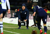 1st February 2019, Deepdale, Preston, England; EFL Championship football, Preston North End versus Derby County; Alex Neil, manager of Preston North End urges on his players late in the game