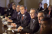 United States President George W. Bush meets with his new cabinet in the Cabinet Room of the White House in Washington, D.C. on January 31, 2001.<br /> Credit: Mark Wilson / Pool via CNP