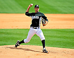 16 March 2009: Florida Marlins' pitcher Burke Badenhop on the mound during a Spring Training game against the Washington Nationals at Roger Dean Stadium in Jupiter, Florida. The Nationals defeated the Marlins 3-1 in the Grapefruit League matchup. Mandatory Photo Credit: Ed Wolfstein Photo