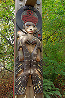 Close-up of a Musqueam First Nation house post carving at the University of British Columbia, Vancouver, BC, Canada