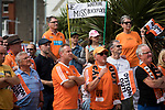 Home fans protesting outside Bloomfield Road stadium before Blackpool hosted Portsmouth in an English League One fixture. The match was proceeded by a protest by around 500 home fans against the club's controversial owners Owen Oyston, many of whom did not attend the game. The match was won by the visitors by 2-1 with two goals by Ronan Curtis watched by just 4,154 almost half of which were Portsmouth supporters.