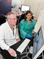 Mississippi State University, College of Veterinary Medicine, lab manager, John Stokes using flow cytometry, instrumentation.