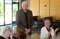 NWA Democrat-Gazette/DAVID GOTTSCHALK Dr. James Hunt stands Thursday, August 2, 2018, during the 2018 Hall of Honor Luncheon hosted by the Fayetteville Public Education Foundation at Fayetteville High School. The 2018 inductees are Mary Faye Jones, George Spencer, Peggy Taylor Lewis and Hunt.