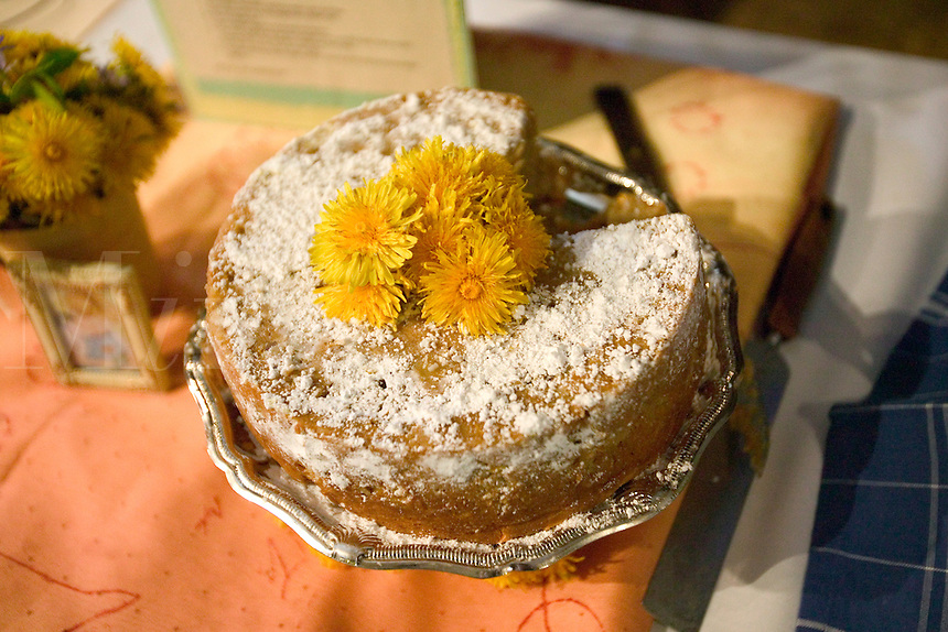 A dandelion cake with dandelion garnish
