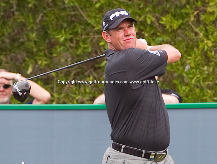 Lee Westwood plays the new G25 range ahead of the 2013 Omega Dubai Desert Classic being played over the Majlis Golf Course, Emirates Golf Course from 31st January to 3rd February 2013: Picture Stuart Adams www.golftourimages.com:  29th January 2013