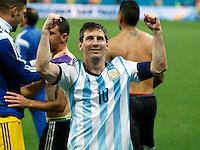 Lionel Messi of Argentina celebrates victory