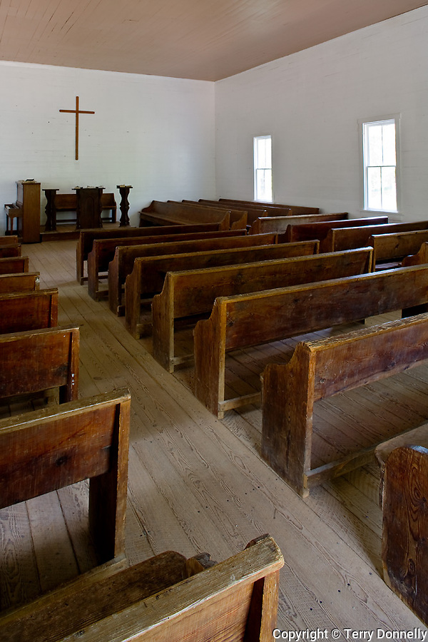 Great Smoky Mts. National Park, TN/NC<br /> Methodist church interior with wood pews in Cades Cove