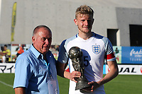 England Captain, Joe Worrall proudly holds the FairPlay Trophy that was won by the England team during England Under-18 vs Ivory Coast Under-20, Toulon Tournament Final Football at Stade de Lattre-de-Tassigny on 10th June 2017