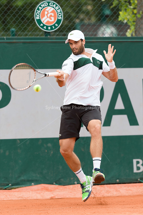 May 24, 2015: Pablo Andujar (ESP) in action in a 1st round match against Albert Ramos-Vinolas (ESP) on day one of the 2015 French Open tennis tournament at Roland Garros in Paris, France. Andujar won 62 64 76. Sydney Low/AsteriskImages