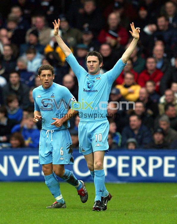Pix: Rob Matthews/SWpix.com. Soccer. Barclaycard Premiership. Season 2003/2004. Fulham v Tottenham 31/1/2004...COPYWRIGHT PICTURE>>SIMON WILKINSON>>01943 608782>>..Robbie Keane celebrates after scoring...