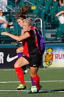 Rochester, NY - Saturday June 11, 2016: Western New York Flash midfielder Abigail Dahlkemper (13), Orlando Pride forward Alex Morgan (13) during a regular season National Women's Soccer League (NWSL) match between the Western New York Flash and the Orlando Pride at Rochester Rhinos Stadium.