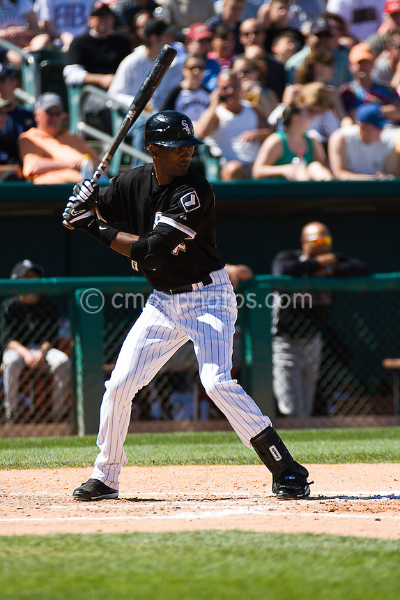 Mar 19, 2008; Tucson, AZ, USA; Chicago White Sox center fielder Alexei Ramirez (10) bats the bottom of the 1st inning during a game against the Colorado Rockies at Tucson Electric Park.  Ramirez would hit a lead-off home run later in this at-bat.  The game ended in a 10-10 tie.