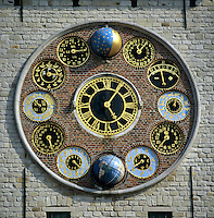 Belgium, Province Antwerpen, Lier: Astronomical clock on the Zimmer Tower, named so after clockmaker Louis Zimmer
