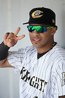 Leury Garcia (24) of the Charlotte Knights prior to the game against the Norfolk Tides at BB&T BallPark on June 7, 2015 in Charlotte, North Carolina.  The Tides defeated the Knights 4-1.  (Brian Westerholt/Four Seam Images)