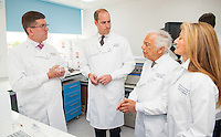 17 May 2016 - London, England - Prince William Duke of Cambridge (second left) with Consultant Medical Oncologist Professor Stephen Johston (left), Ralph Lauren (second right) and his wife Ricky Lauren during a visit to the Royal Marsden NHS Foundation Trust, in Chelsea, west London, as he marks the opening of the hospital's new centre for breast cancer research named after the fashion designer. The Ralph Lauren Centre for Breast Cancer Research was funded by supporters of the Royal Marsden Cancer Charity, including a generous donation from the designer. William has a long association with the hospital, he became the Royal Marsden's president in 2007, following in the footsteps of his mother Diana, Princess of Wales, who held the same position from 1989 until her death in 1997. Photo Credit: ALPR/AdMedia