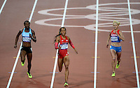 05.08.2012. London, England. Sanya Richards Ross of USA at the finish line during Womens 400m Final  London 2012 Olympic Games Sanya Richards Ross of USA Won Gold Medal  with GB runner Christine Ohuruogu in second and Deedee Trotter (US) in 3rd