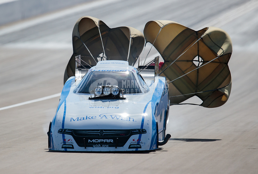Oct 27, 2018; Las Vegas, NV, USA; NHRA funny car driver Tommy Johnson Jr during qualifying for the Toyota Nationals at The Strip at Las Vegas Motor Speedway. Mandatory Credit: Mark J. Rebilas-USA TODAY Sports