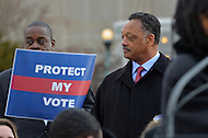 February 27, 2013  (Washington, DC)  The Reverend Jesse Jackson Sr. (r) at a voting rights rally in front of the U.S. Supreme Court. The Court heard arguments regarding the constitutionality of Section 5 of the Voting Rights Act.   (Photo by Don Baxter/Media Images International)