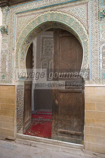 Afrique/Afrique du Nord/Maroc/Fèz: Dans la Médina porte d'entrée d'une mosquée