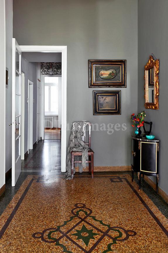lobby with mosaic floor
