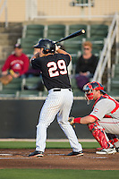 Michael Suiter (29) of the Kannapolis Intimidators at bat against the Greenville Drive at CMC-Northeast Stadium on April 28, 2015 in Kannapolis, North Carolina.  The Intimidators defeated the drive 3-2.  (Brian Westerholt/Four Seam Images)